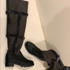 Tory Burch shearling over the knee boots